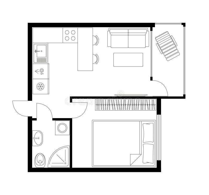 Architecture Plan Of Apartment Studio Condominium Flat House Stock Vector Illustration Of Draw Interior 189077441