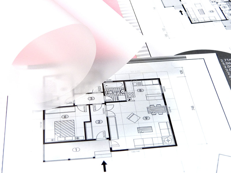 Architecture planning. Architecture project at paper and arch tools royalty free stock photos