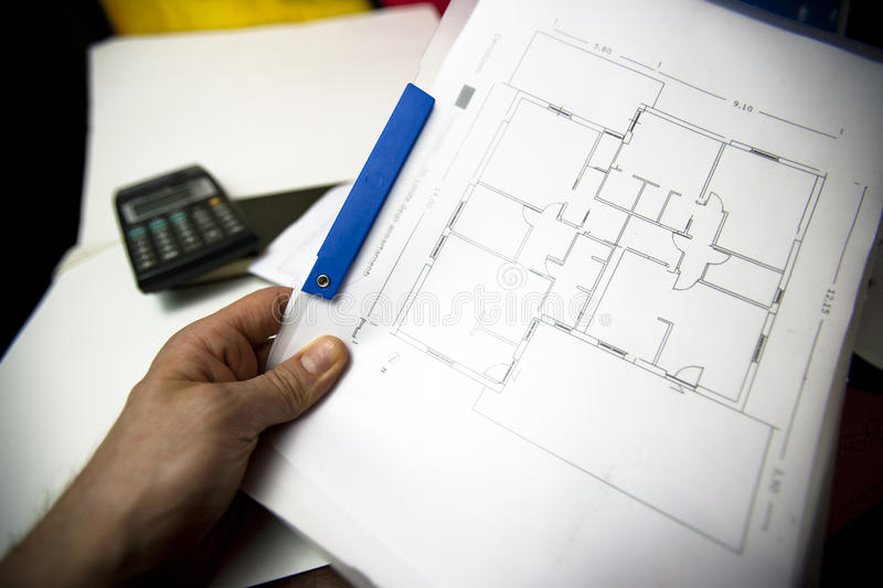 Architecture plans, blue prints stock photo
