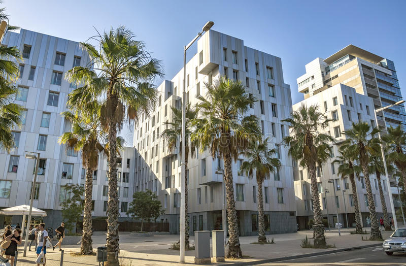 Architecture Poblenou district in Barcelona. BARCELONA, SPAIN - JULY 1, 2016: New buildings at Poblenou district, Barcelona, Spain stock image