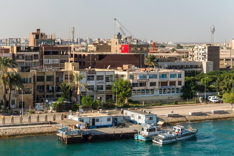 Architecture of the Port Tawfiq Tawfik in Suez, Egypt. Port Tawfiq, Egypt - November 5, 2017: Buildings on the shore of the Suez Canal in Port Tawfiq Tawfik near stock image