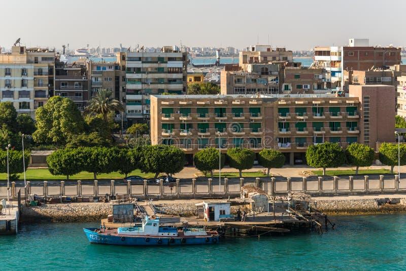 Architecture of the Port Tawfiq Tawfik in Suez, Egypt. Port Tawfiq, Egypt - November 5, 2017: Buildings on the shore of the Suez Canal in Port Tawfiq Tawfik near stock photo