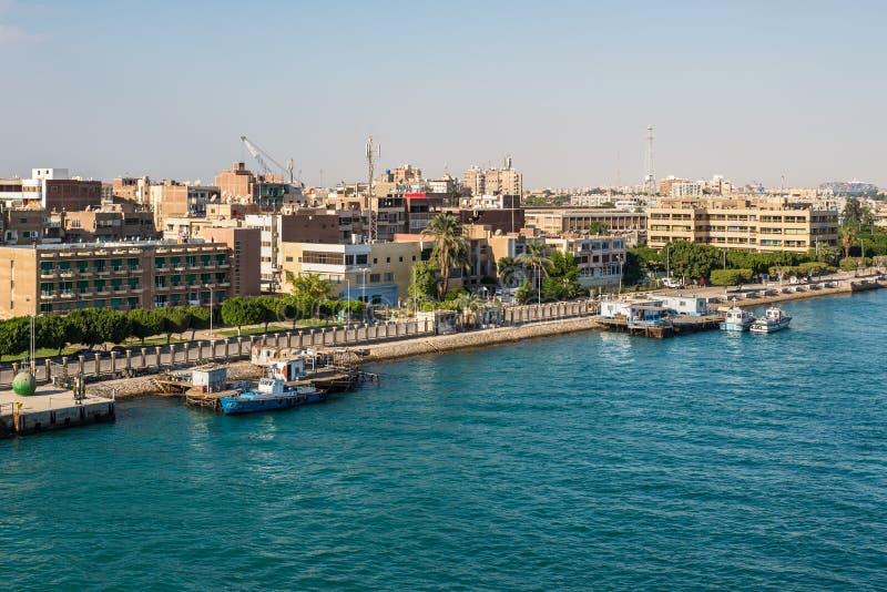 Architecture of the Port Tawfiq Tawfik in Suez, Egypt. Port Tawfiq, Egypt - November 5, 2017: Buildings on the shore of the Suez Canal in Port Tawfiq Tawfik near stock photography
