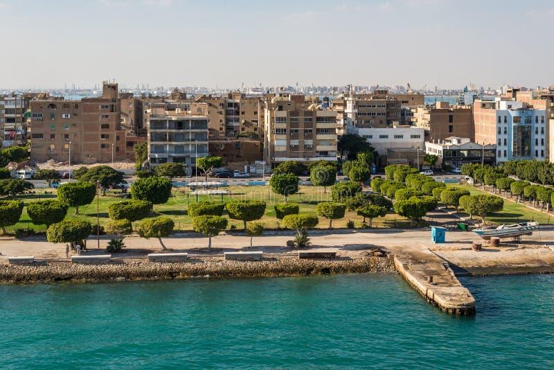Architecture of the Port Tawfiq Tawfik in Suez, Egypt. Port Tawfiq, Egypt - November 5, 2017: Buildings on the shore of the Suez Canal in Port Tawfiq Tawfik near royalty free stock image