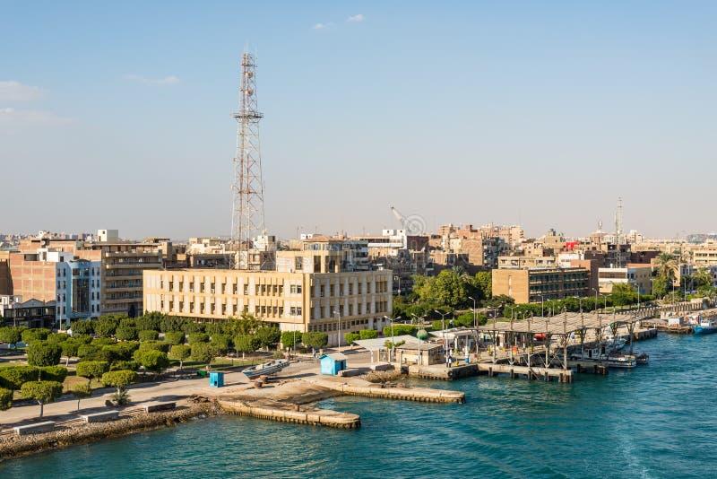 Architecture of the Port Tawfiq Tawfik in Suez, Egypt. Port Tawfiq, Egypt - November 5, 2017:  Cityscape of the Port Tawfiq Tawfik near Suez. The Suez Port is an stock image