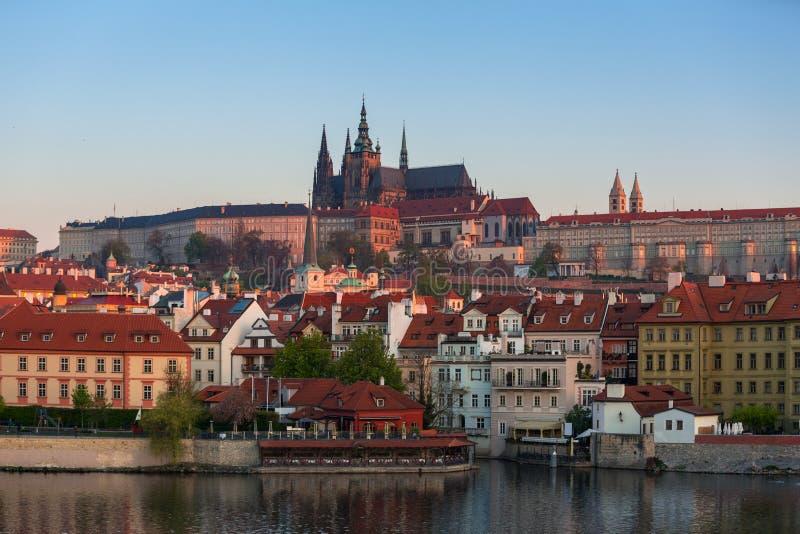 Architecture of the Prague castle at sunrise, Czech Republic royalty free stock image