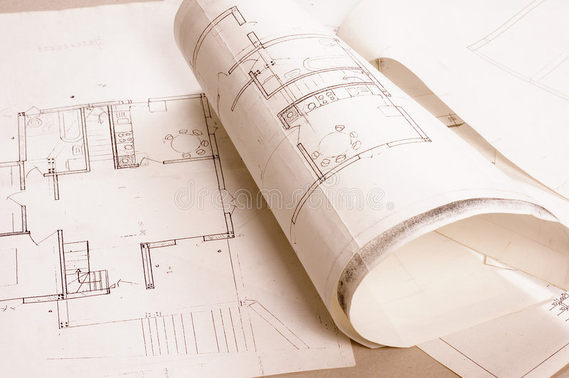Architecture project. Architecture planning of interiors designe on paper royalty free stock photos