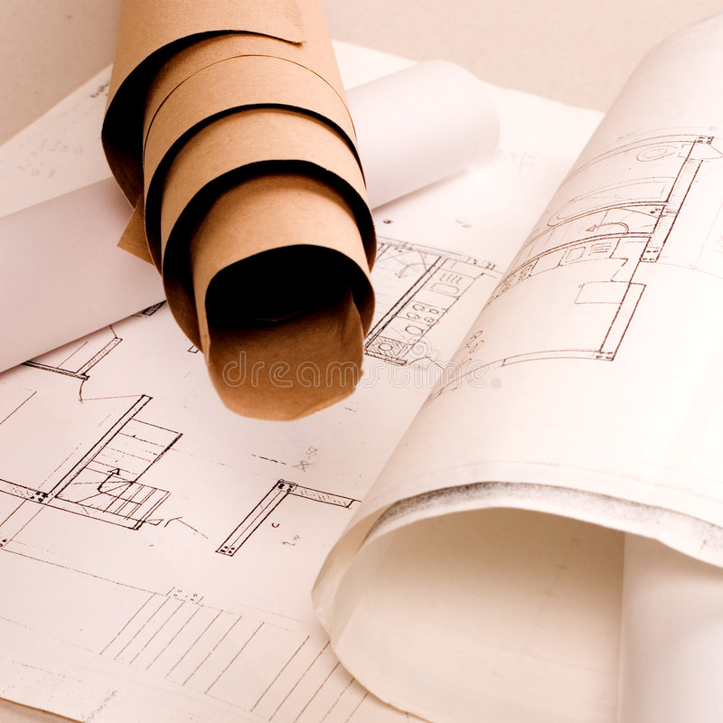 Architecture project. Architecture planning of interiors designe on paper stock photos