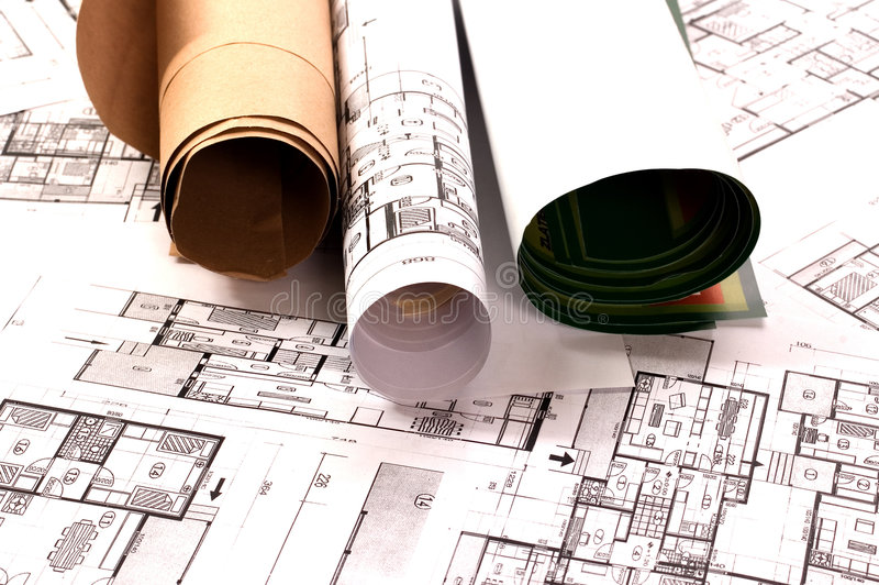 Architecture project. Architecture planning of interiors designe on paper royalty free stock images