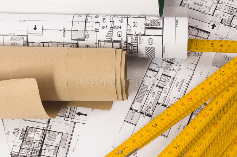 Architecture project. Architecture planning of interiors with wooden metre stock photo