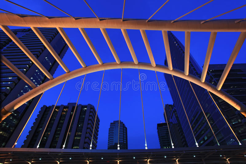 Architecture of pubic skywalk at bangkok downtown royalty free stock image
