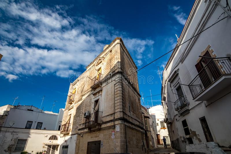 Architecture. Puglia. Southern Italy. Beautiful facade of building in Puglia. Mediterranean architecture of Southern Italy. Scenery summer blue-sky day with stock photos