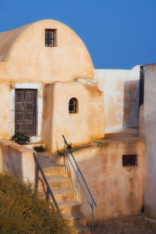 Architecture in Pyrgos village, Santorini royalty free stock photography