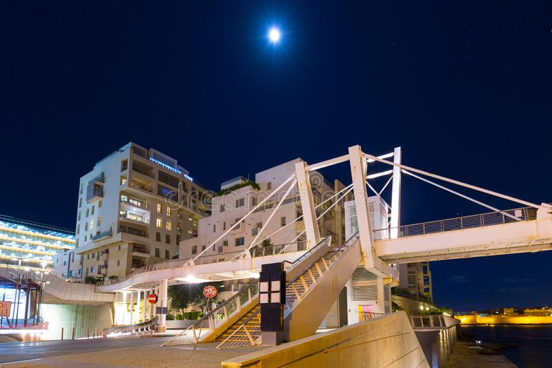 Architecture of the residential area in Sliema at night, Malta stock images