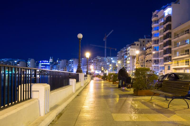 Architecture of the residential area in Sliema at night, Malta royalty free stock photos