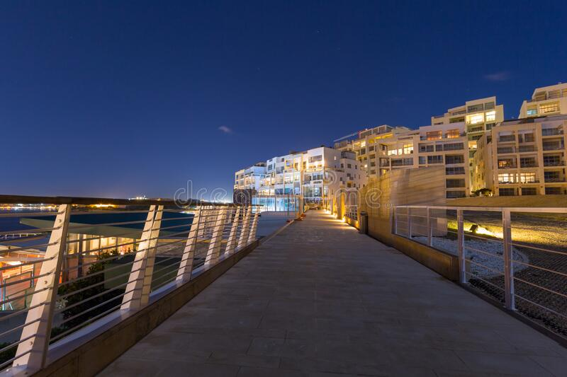 Architecture of the residential area in Sliema at night, Malta stock image