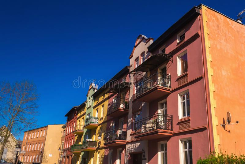 Architecture residential old buildings in center of Bytow, Poland stock photo
