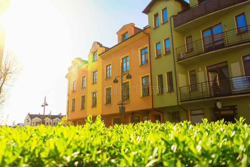 Architecture residential old buildings in center of Bytow, Poland. Architecture residential colorful old buildings in center of Bytow, Poland royalty free stock image