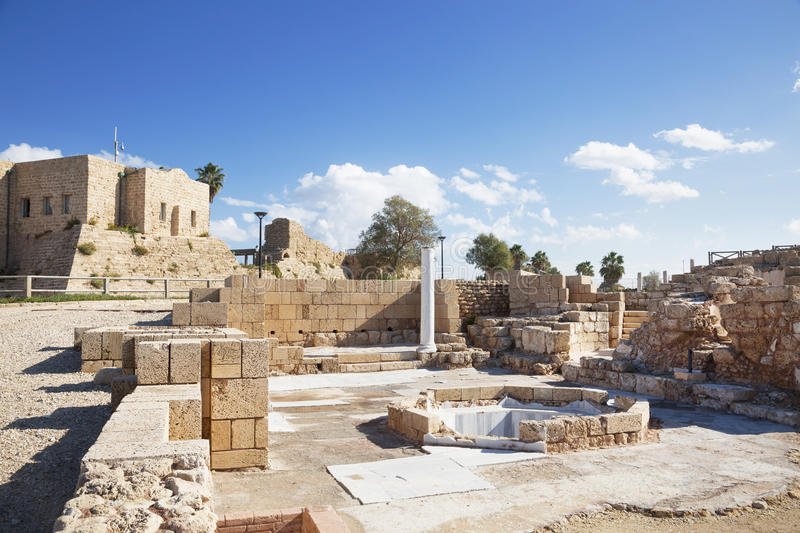 The architecture of the Roman period in the national park Caesarea. On the Mediterranean coast of Israel royalty free stock photos