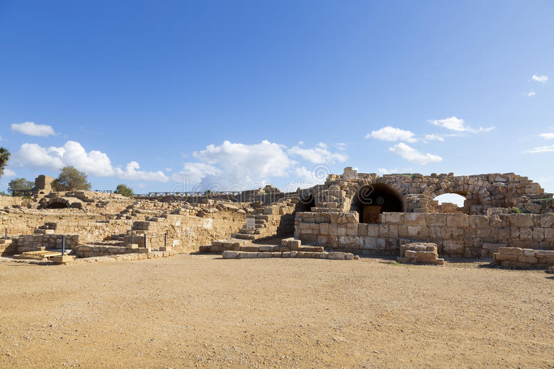 The architecture of the Roman period in the national park Caesarea. On the Mediterranean coast of Israel royalty free stock images