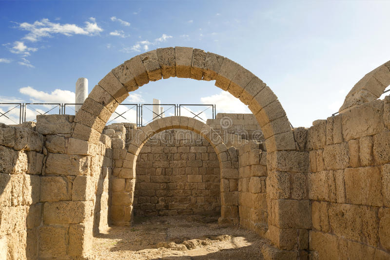 The architecture of the Roman period in the national park Caesarea. On the Mediterranean coast of Israel stock photos