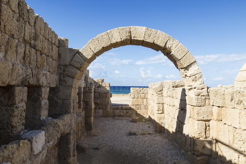 The architecture of the Roman period in the national park Caesarea. On the Mediterranean coast of Israel stock images