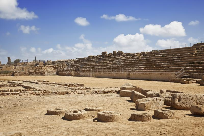 The architecture of the Roman period in the national park Caesarea on the Mediterranean coast of Israel. Racecourse stock images