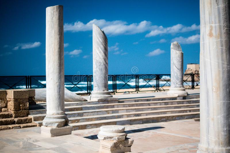 Ruins of ancient Cesarea built by Herod, Israel stock image