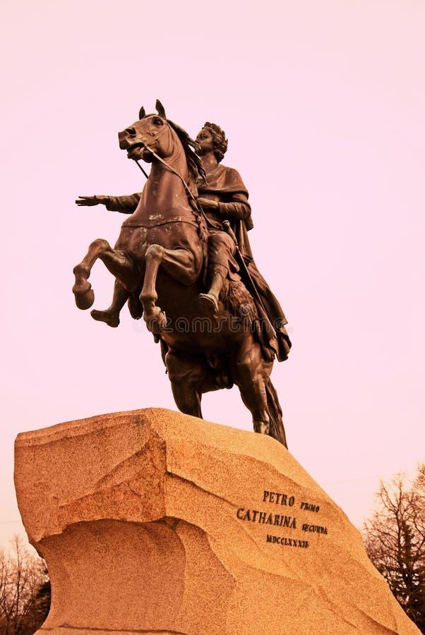 Architecture of Saint-Petersburg, Russia. Saint-Petersburg, Russia. Bronze horseman monument royalty free stock photo