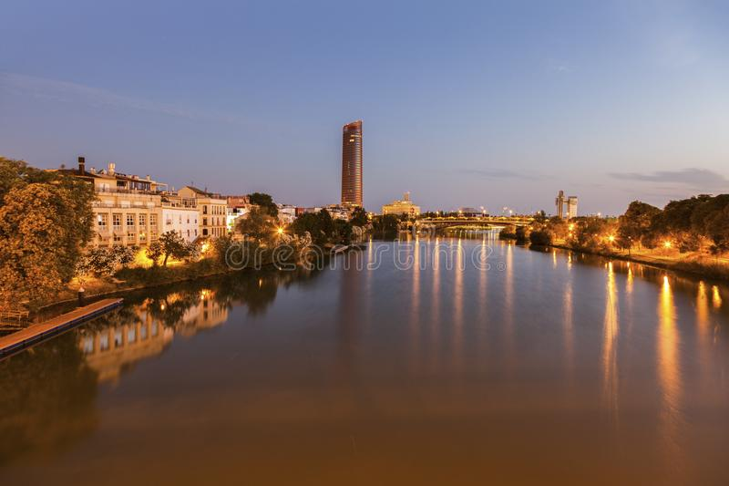 Architecture of Seville along Guadalquivir River. Seville, Andalusia, Spain stock image