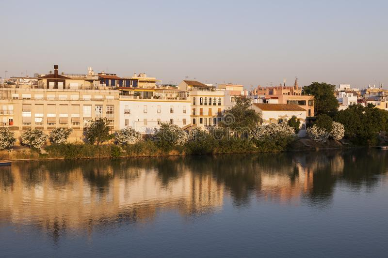 Architecture of Seville along Guadalquivir River. Seville, Andalusia, Spain royalty free stock photo