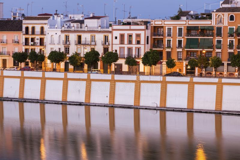 Architecture of Seville along Guadalquivir River. Seville, Andalusia, Spain stock images