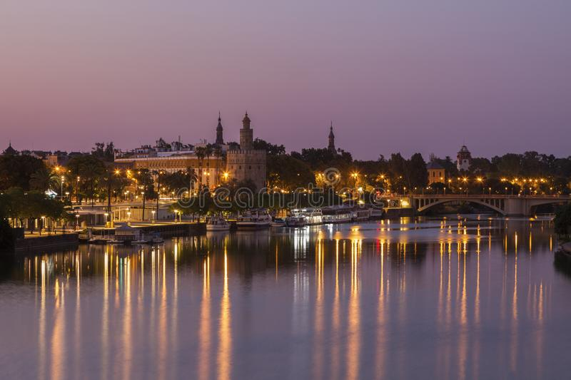 Architecture of Seville along Guadalquivir River. Seville, Andalusia, Spain stock photos