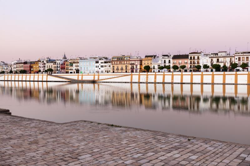 Architecture of Seville along Guadalquivir River. Seville, Andalusia, Spain royalty free stock image