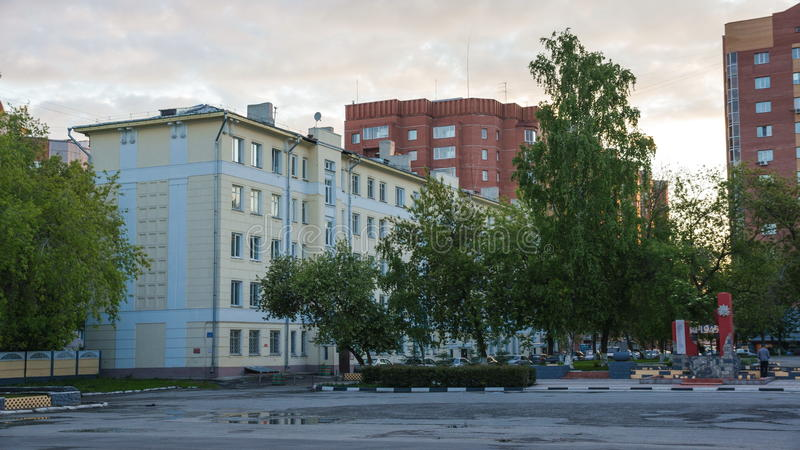 Architecture Siberian city (megalopolis) Novosibirsk. Russian architecture buildings. Courtyard house with fence stock photography