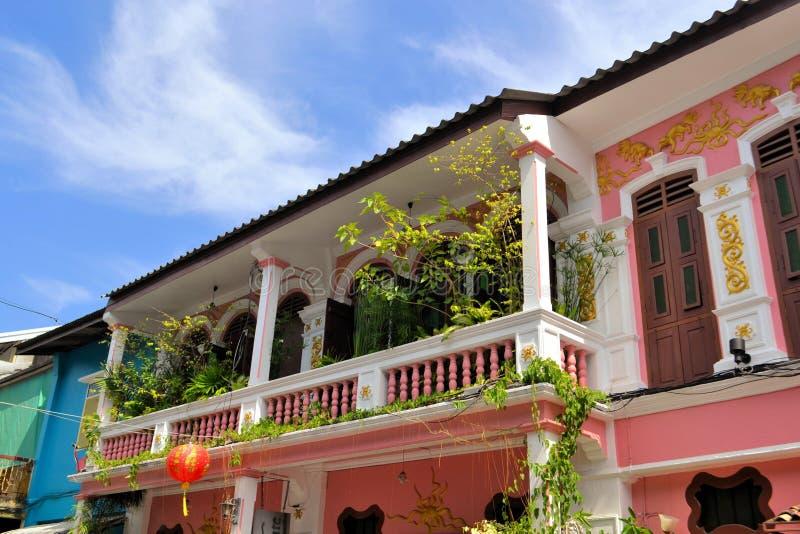 Architecture sino-portugaise à Phuket, Thaïlande photo stock