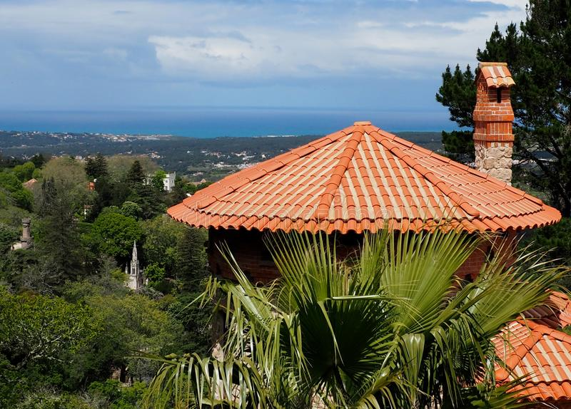 Architecture In Sintra Portugal Red Clay Tiled Roof royalty free stock image