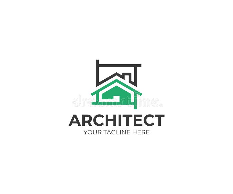 Architecture sketch logo template. House project vector design stock illustration
