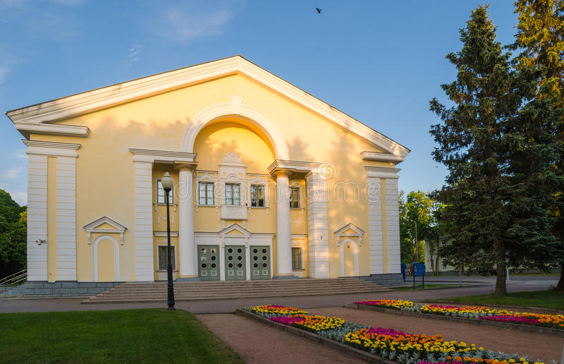Architecture of the Stalin era in Sillamae, Estonia. House of Culture in Sillamae. The architecture of the Stalin era stock images