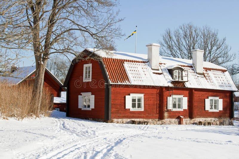 Architecture suédoise à l'hiver. photo libre de droits