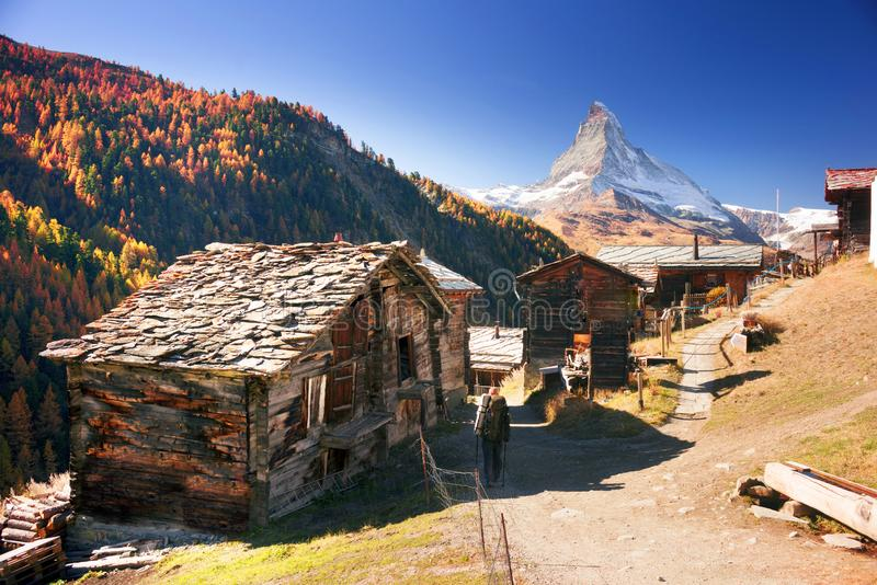 Architecture of Switzerland near Matterhorn royalty free stock images