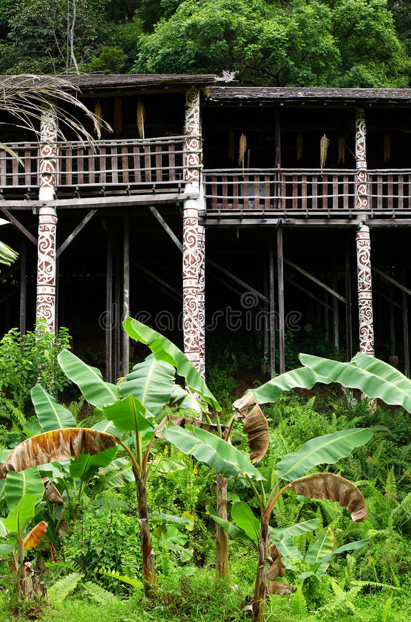 Architecture tribale de longhouse du Bornéo Sarawak images libres de droits