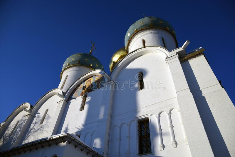 Assumption cathedral. Architecture of Trinity Sergius Lavra, Sergiev Posad, Moscow region, Russia. royalty free stock images