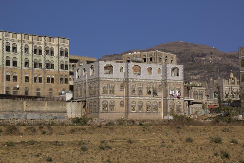 Architecture typique du Yémen dans Ibb, Yémen image libre de droits