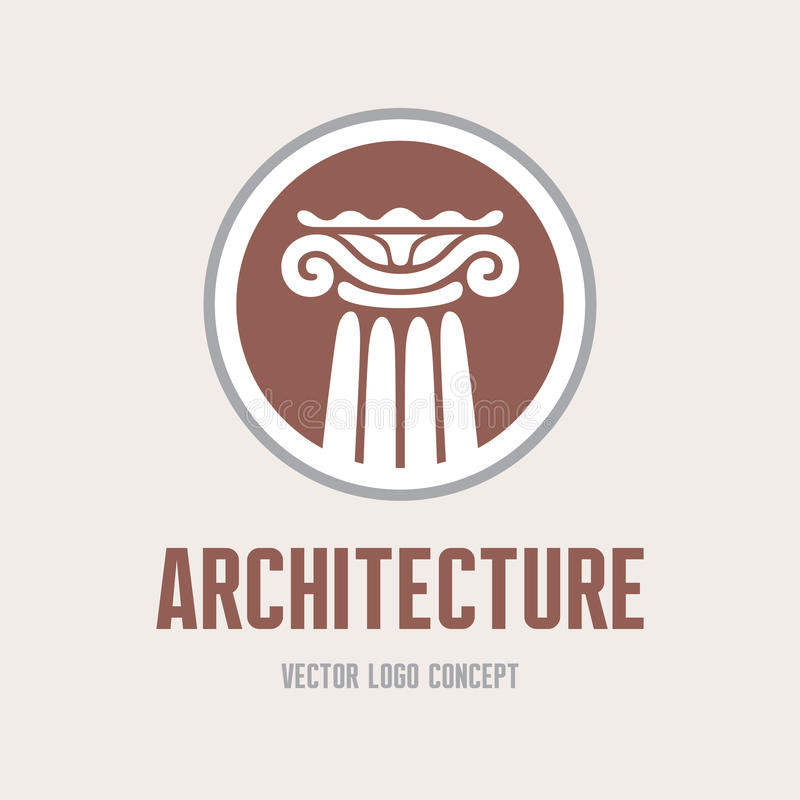 Architecture - vector logo template concept. Antique column abstract sign. Architectural order. Design element stock illustration