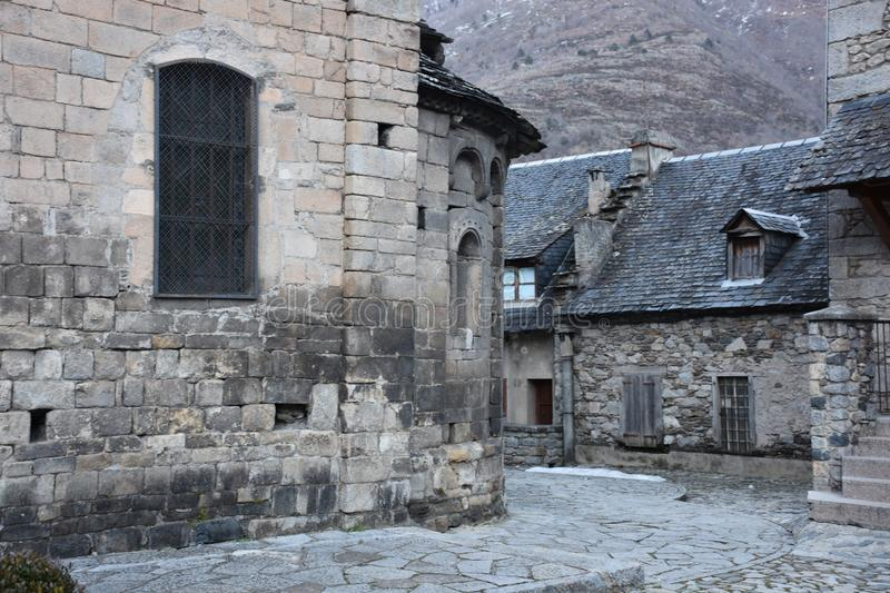 Architecture at village of Bossost in Catalonia with romanic art royalty free stock image