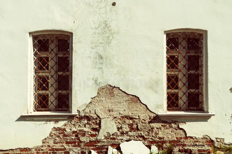 Architecture vintage background. Ancient windows of traditional Slavic style. Architecture background. Ancient windows of traditional Slavic style in Savior royalty free stock image