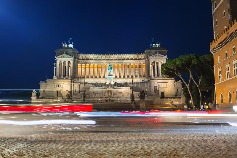 Architecture of the Vittorio Emanuele II Monument in Rome at night, Italy stock photography
