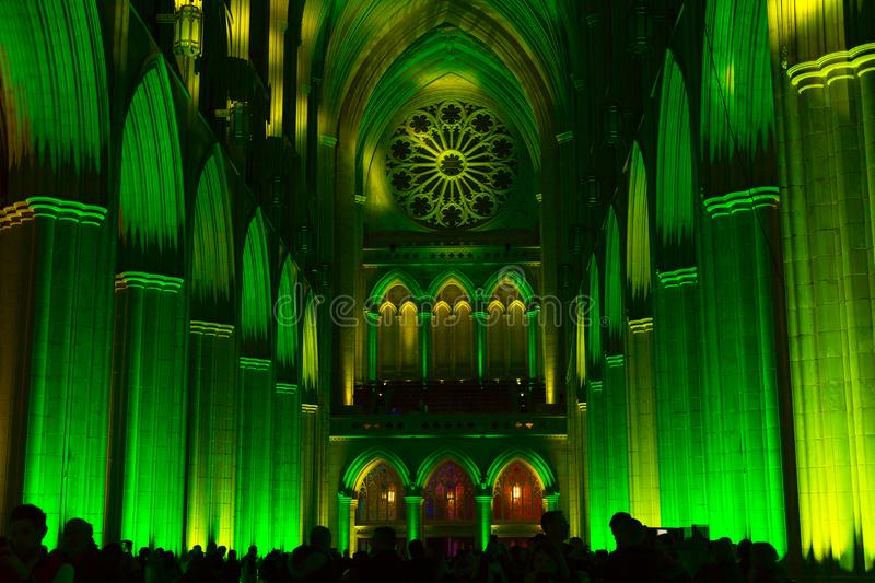 Architecture of Washington National Cathedral illuminated by lights. stock images