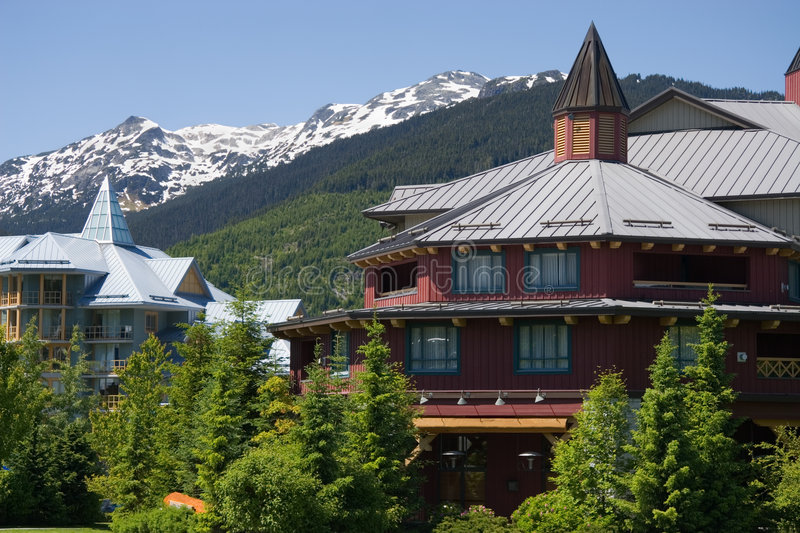 Architecture of Whistler. Vancouver - Whistler selected to host 2010 Winter Olympic Games. Whistler, British Columbia is a Canadian resort town with a permanent stock images